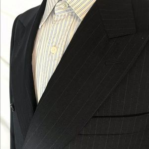Canali Suits & Blazers - CANALI 39R Double Breasted Navy Striped Blazer